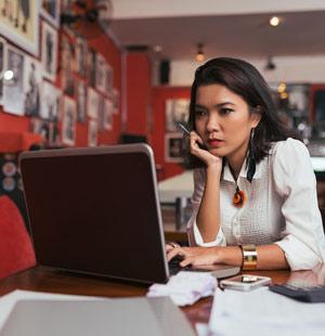 blog writing at computer