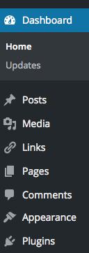 WordPress Dashboard Navigation