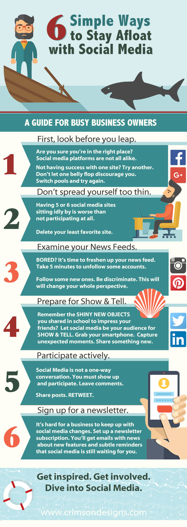 6 Simple Ways to Stay Afloat with Social Media - Infographic