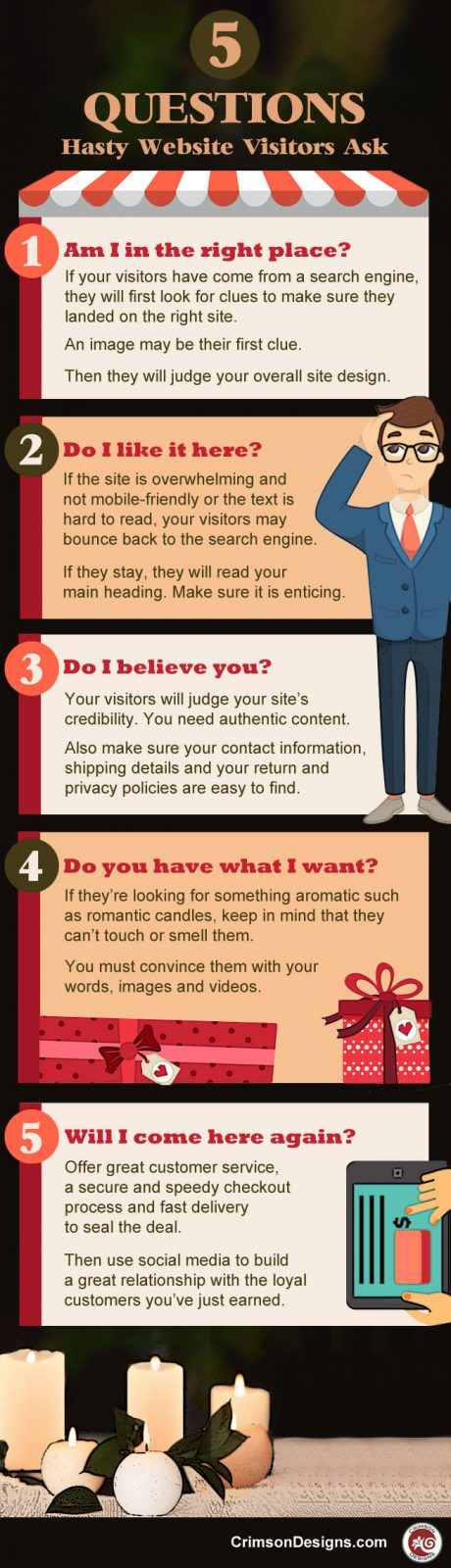 5 Questions Hasty Website Visitors Ask - Infographic
