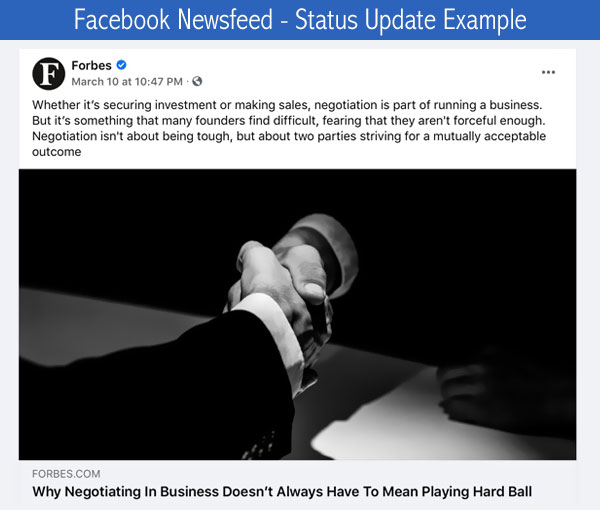 Facebook Newsfeed - Status Update Example for a Business